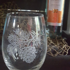 PINE CONES -  STEMLESS WINE GLASSES