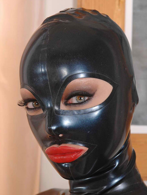Sexy Black Full Face Natural Latex Hood Open Eyes Mouth for Women Sexy Handmade