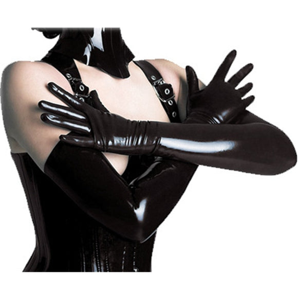 Sexy Wetlook Long Latex Gloves Fetish Faux Leather Gloves