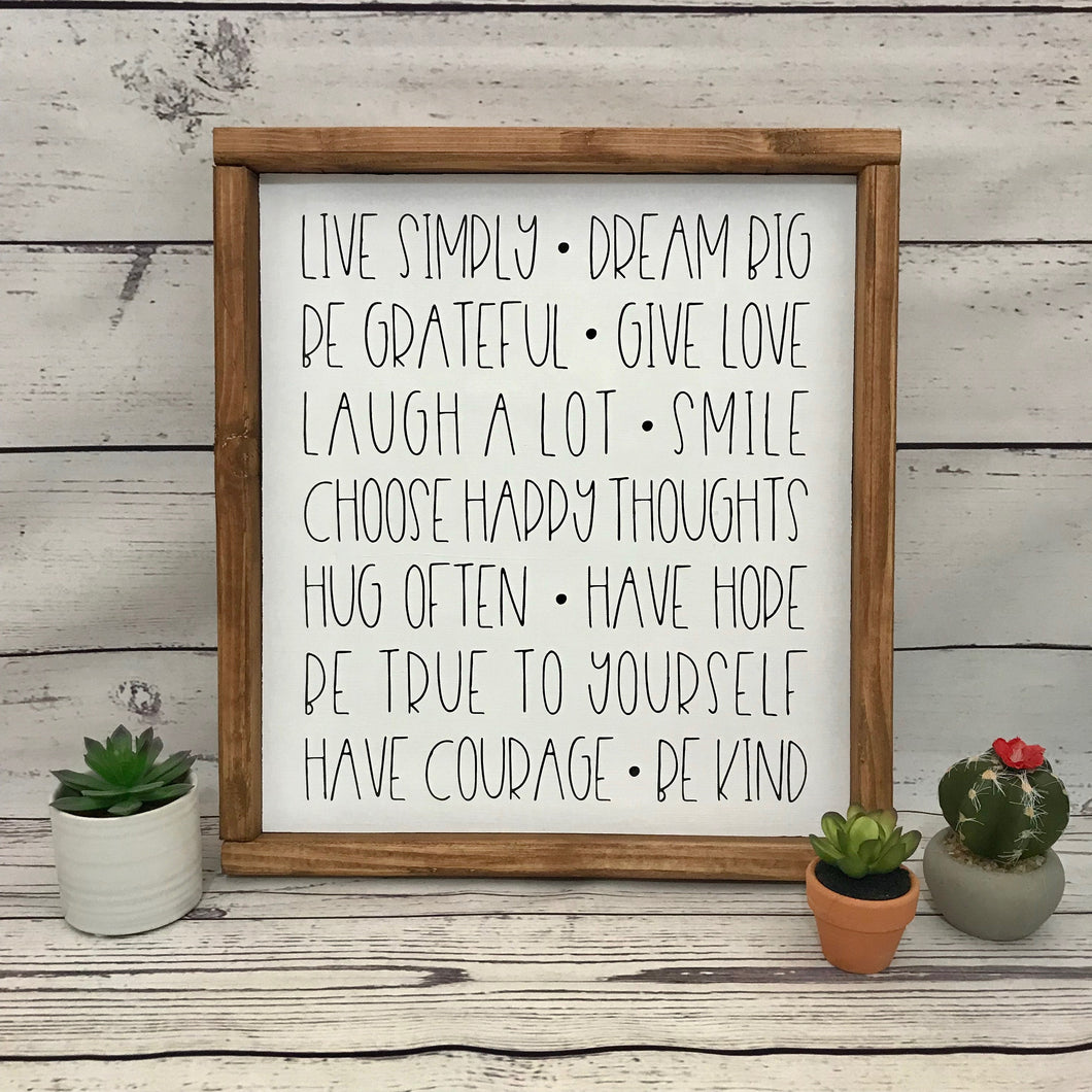 Live Simply Framed Wood Sign