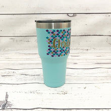 30 OZ. Custom Name Mermaid Scale Tumbler