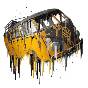 VW Volkswagon Vdub Samba Camper Kombi Yellow Liquid Metal | Tshirt, Tshirt Men, Tshirt Women, Custom T, Bespoke T-shirt, Apparel, Clothing