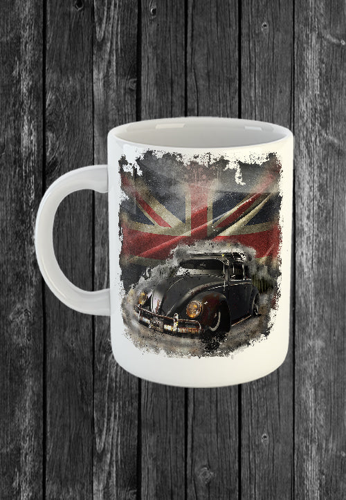 Exclusive Mug VW Beetle Volkswagon Vdub UK Flag | Mugs With Sayings, Personalised Gifts, Presents, Drinkware, Kitchen, Chest Candy