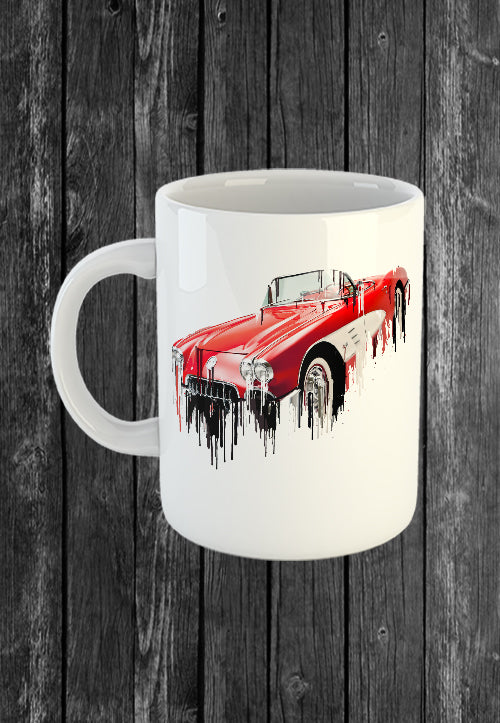 Exclusive Handmade Mug Chevrolet Corvette | Mugs With Sayings, Personalised Gifts, Presents, Drinkware, Kitchen, Liquid Metal