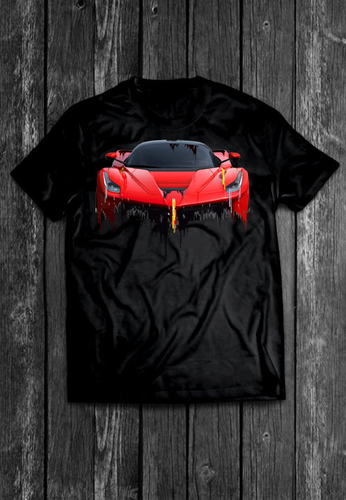 Ferarri LaFerrari Front and Back Liquid Metal Tshirt
