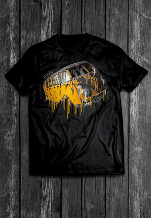 Volkswagon Samba Yellow Liquid Metal Tshirt + FREE GIFT