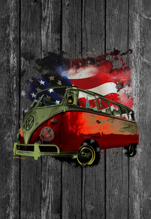 VW Volkswagon Vdub Samba Camper Kombi USA Flag Chest Candy | Tshirt, Tshirt Men, Tshirt Women, Custom T, Bespoke T-shirt, Apparel, Clothing