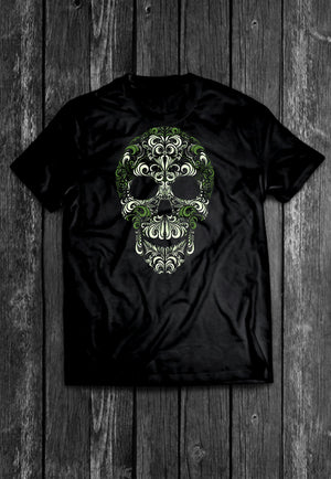 Sugar Skull Skrolls Chest Candy | Tshirt, Tshirt Men, Tshirt Women, Custom T, Bespoke T-shirt, Apparel, Clothing