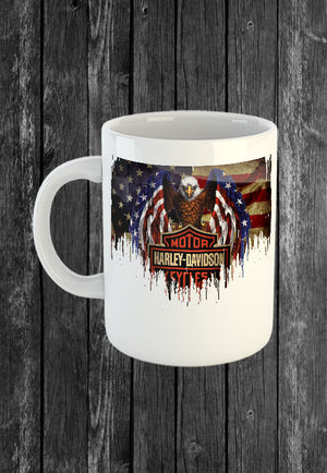 Handmade Mug Harley Davidson Motorcycle USA Flag | Mugs With Sayings, Personalised Gifts, Presents, Drinkware, Kitchen, Chest Candy