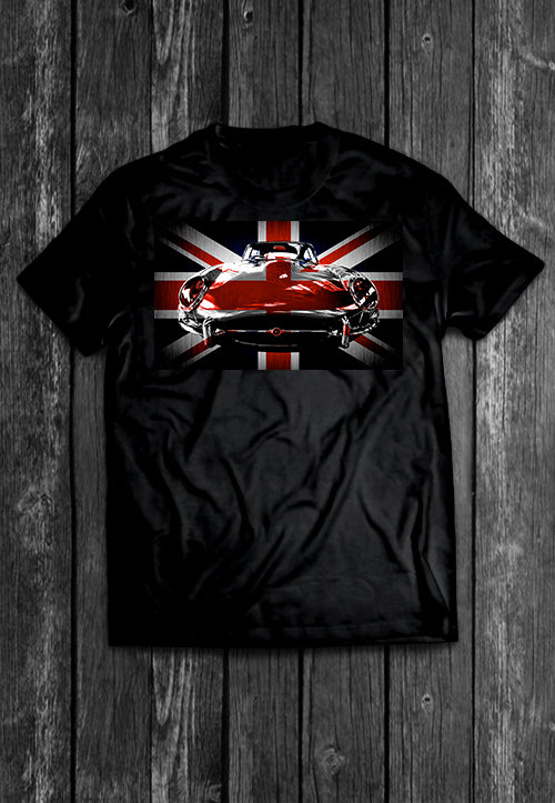 Jaguar E Type UK Flag Chest Candy Tshirt