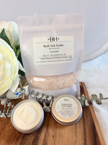 bath salts, soaks, foot balm
