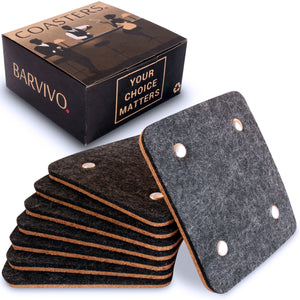 Felt & Cork Coasters Set with Rivet