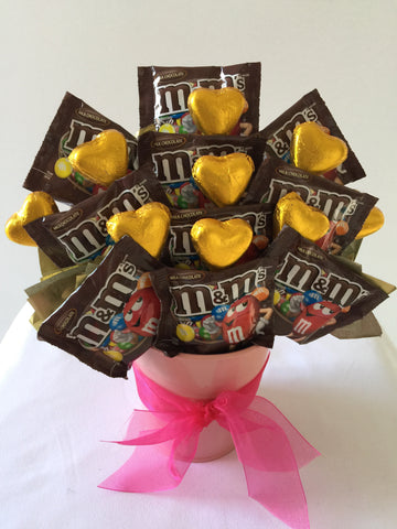 M&M's Chocolates and chocolate love hearts
