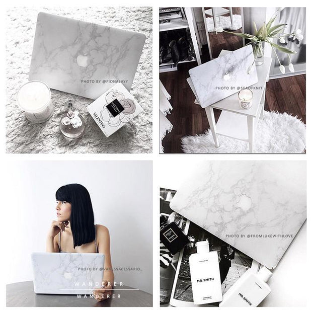 White Marble Skin For Macbook (Front+Bottom) , Apartment - Wanderer Wanderer, Wanderer Wanderer  - 5