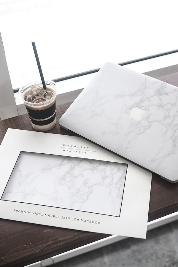 White Marble Skin For Macbook (Front+Bottom) , Apartment - Wanderer Wanderer, Wanderer Wanderer  - 2