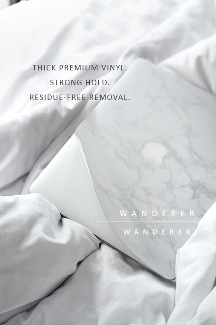 White Marble Skin For Macbook (Front+Bottom) , Apartment - Wanderer Wanderer, Wanderer Wanderer  - 4