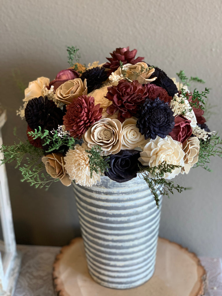 Wine, Navy Blue, Ivory, & Skin Dahlia Flower Bouquet