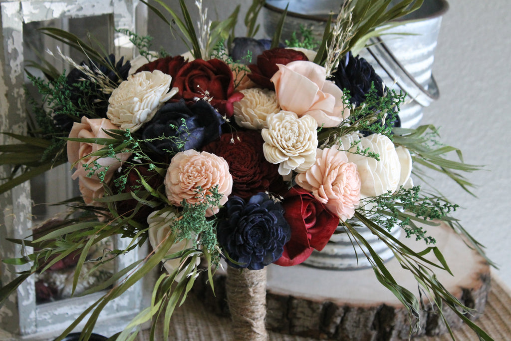 Eucalyptus Bouquet, Burgundy, Navy Blue, Dusty Rose, & Ivory Eucalyptus Sola Bouquet