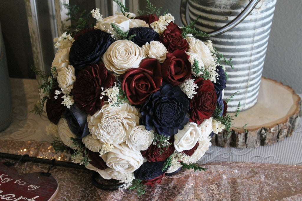 Ivory, Burgundy, & Navy Blue Sola Flower Bouquet