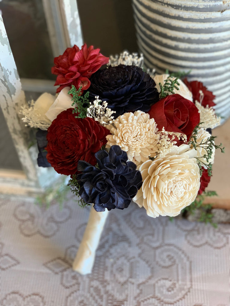 Navy Blue, Burgundy, & Ivory Sola Dahlia Bouquet