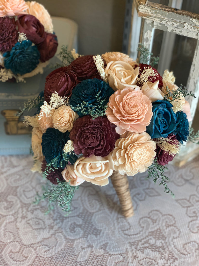Wine, Burgundy, Teal, Dusty Rose, & Champagne Sola Wood Flower Bouquet