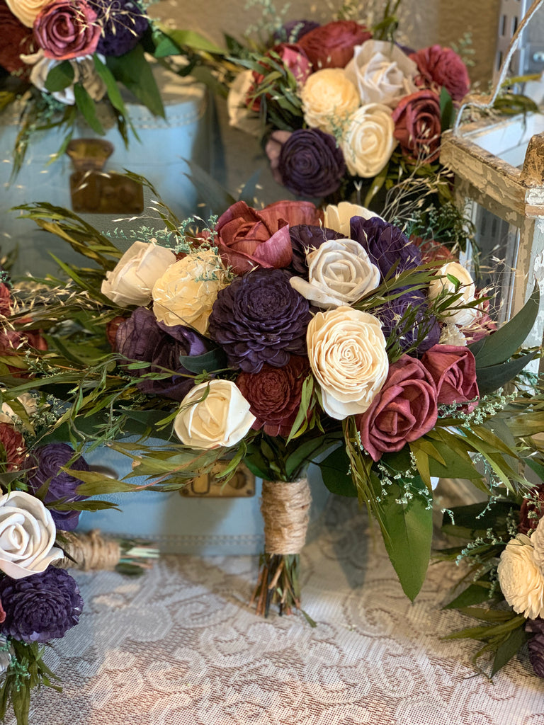 Wine, Plum, & Ivory Eucalyptus Sola Bouquet, Purple Rose Bouquet