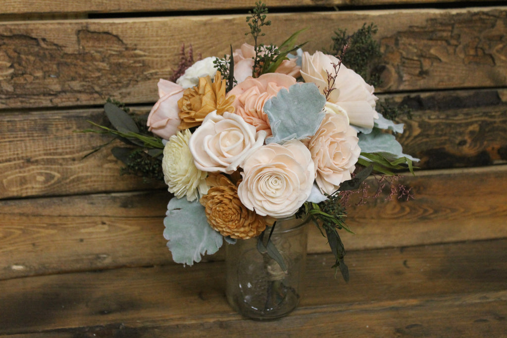 Blush Pink, Dusty Rose, Mustard, Pale Yellow, & Ivory Sola Flower Bouquet, Dusty Miller Bouquet