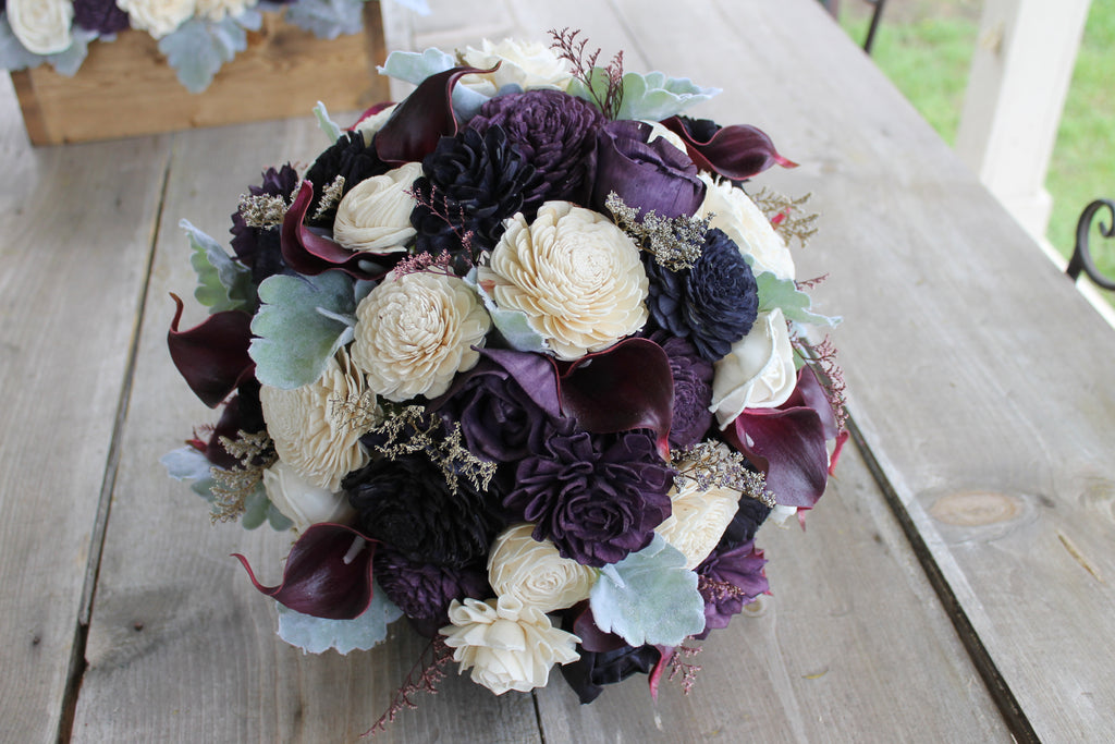 Plum Calla Lily & Sola Flower Bouquet, Dusty Miller Bouquet