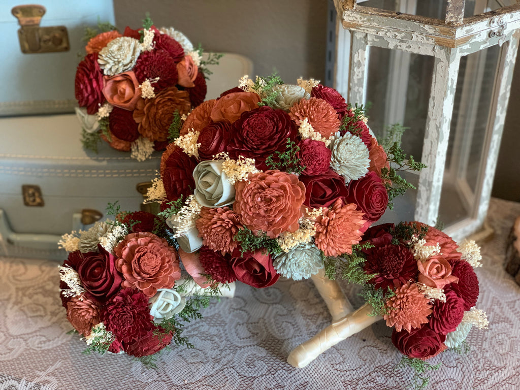 Burgundy, Burnt Orange, & Sage Sola Wood Flower Bouquet