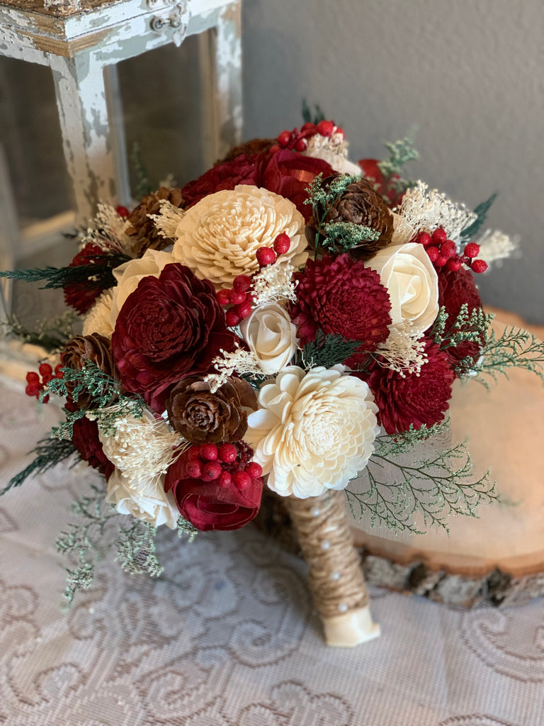 Cedar Rose Bouquet, Burgundy & Ivory Sola Flower Bouquet
