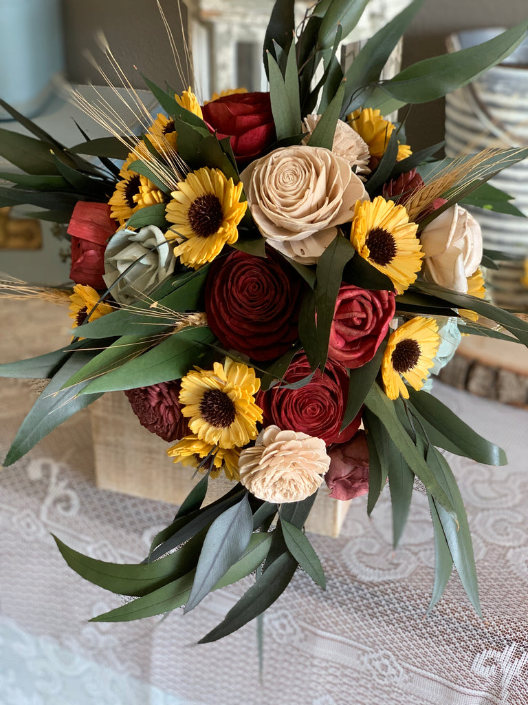 Wine, Burgundy, Taupe, & Sage Cascading Sunflower Bouquet