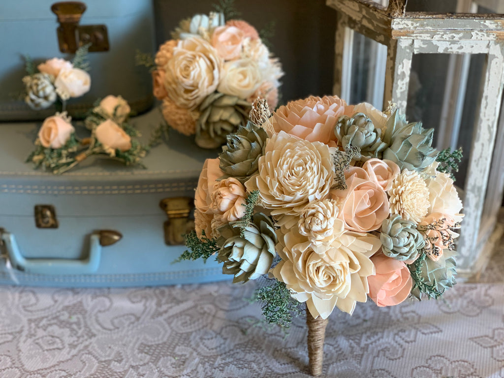 Ivory, Blush Pink, Dusty Rose, & Sage Succulent Sola Wood Flower Bouquet