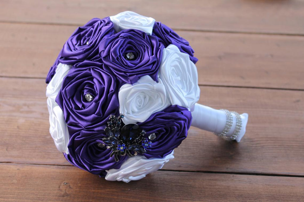READY TO SHIP 2-5 days, Limited Edition Purple & White Fabric Flower Bouquet, READY TO SHIP 2-5 days