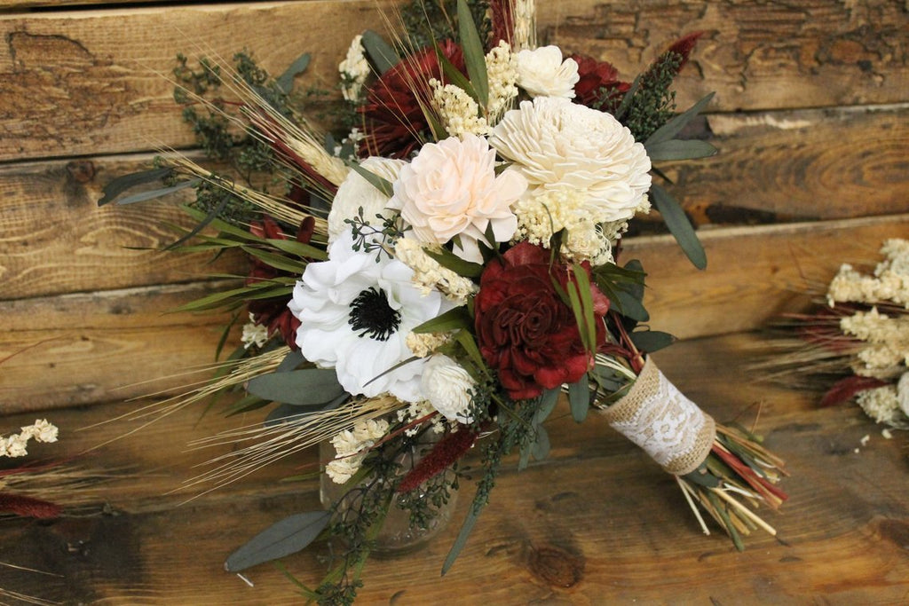 Burgundy, Blush Pink, & Ivory Wild Flower Bouquet, Anemone Flower Bouquet