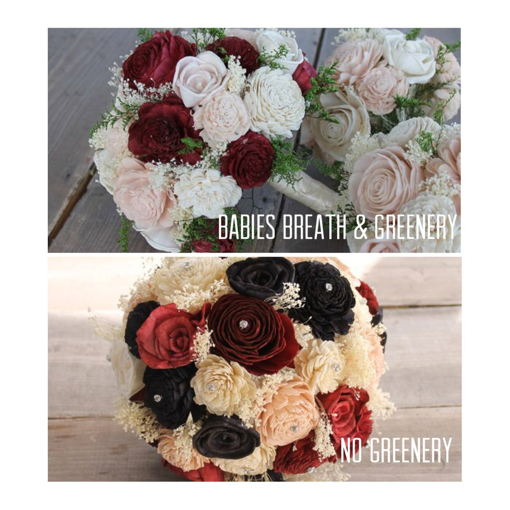 Ivory, Champagne, & Black Sola Flower Bouquet