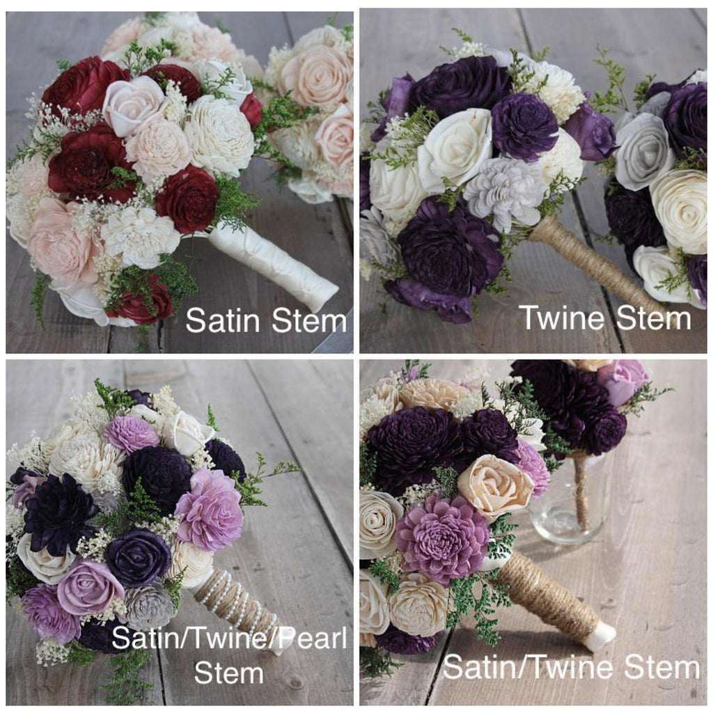 Ivory, Blush Pink, Mint, & Burgundy Sola Flower Bouquet