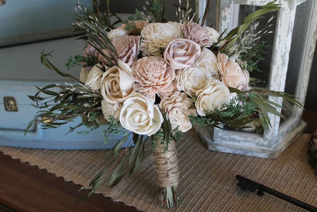 Blush Pink, Antique Mauve, Champagne, Dusty Purple, & Ivory Eucalyptus Sola Bouquet