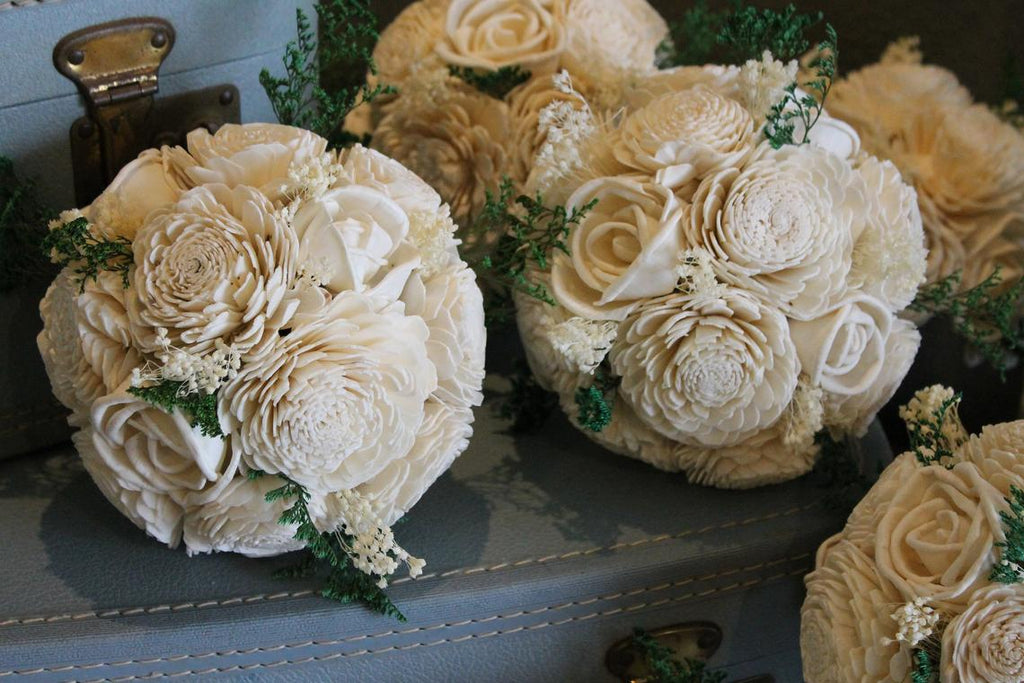 Bridesmaid Bouquet Set, Ivory Sola Flower Bouquets