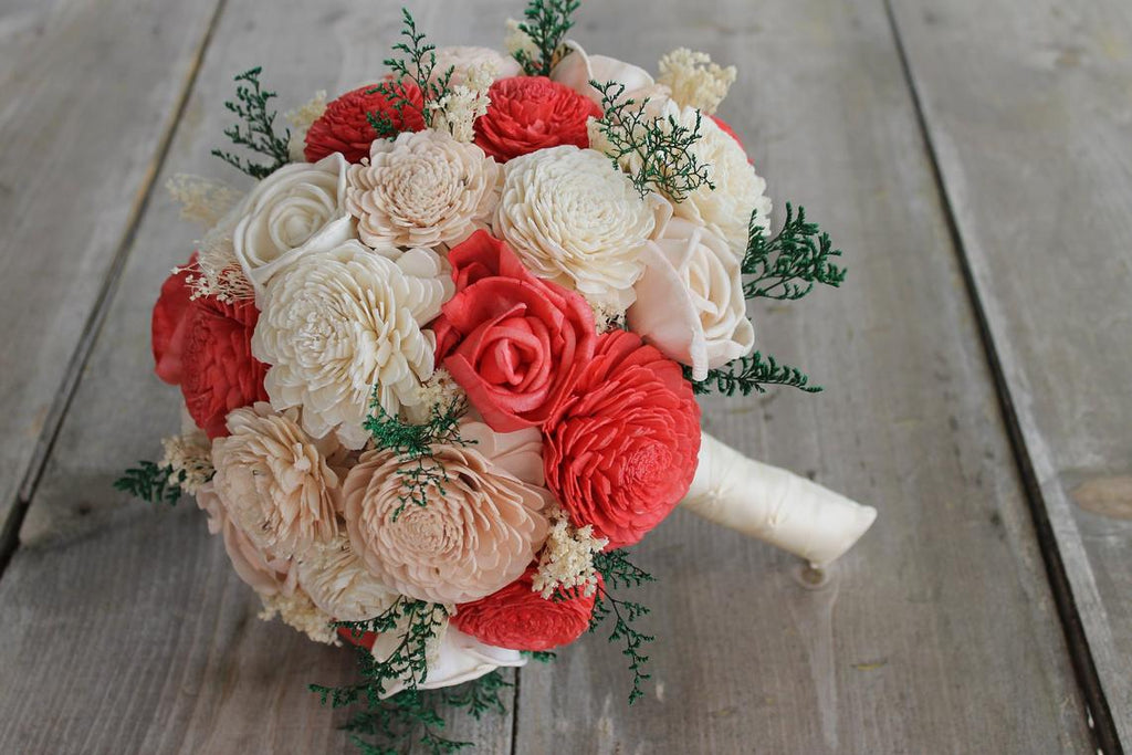 Coral, Blush Pink & Ivory Sola Wood Bouquet
