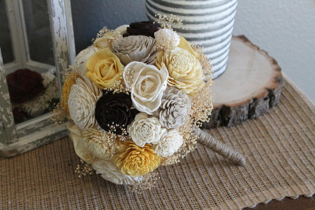 READY To SHIP, Ivory, Yellow Gold, Butter Yellow, Brown, & Taupe Sola Bouquet