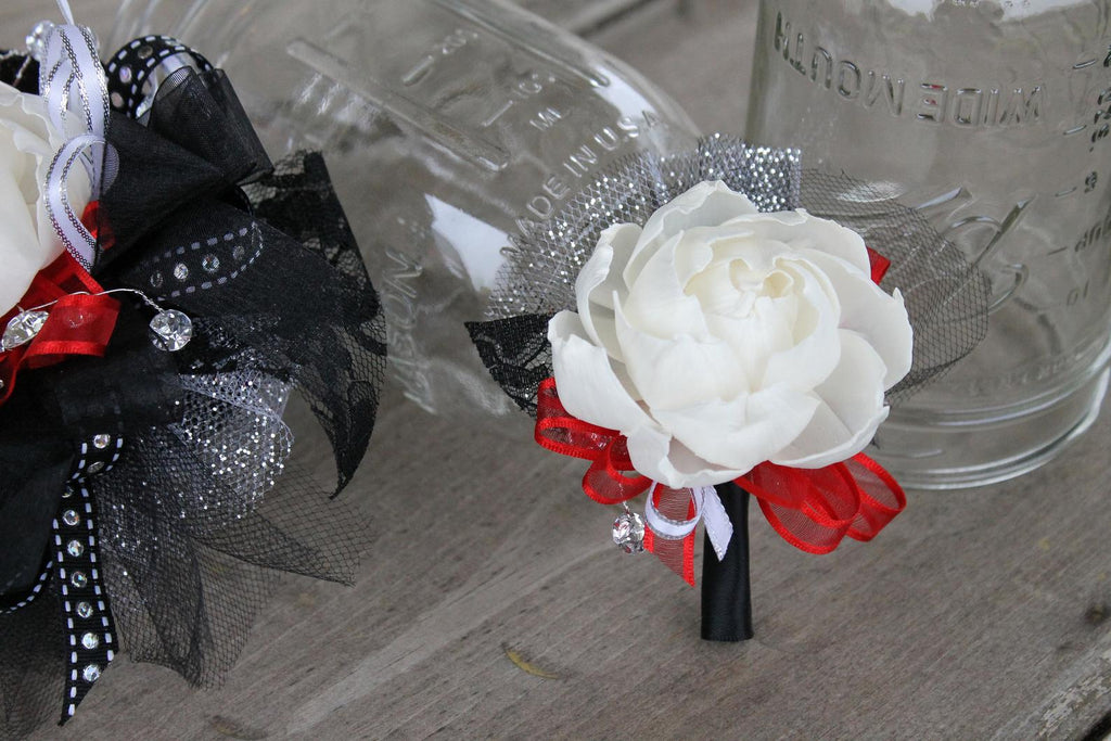 Red & Black Prom Boutonniere