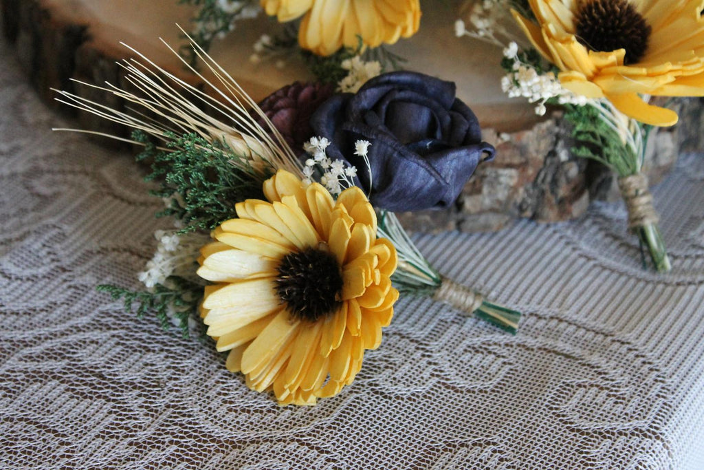 Sunflower Boutonniere, Yellow, Navy, & Wine Boutonniere