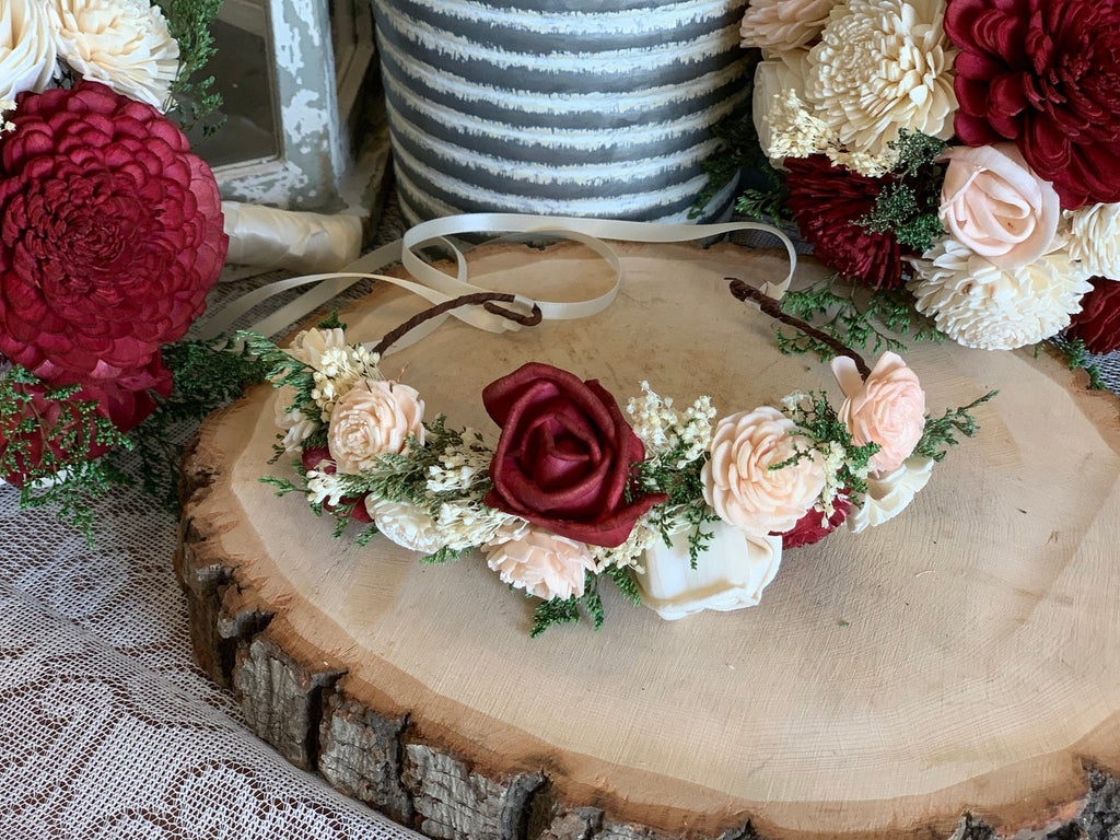 Ivory, Burgundy, & Blush Pink Sola Flower Crown