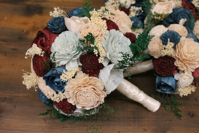 Champagne, Dusty Blue, Teal, & Burgundy Sola Bouquet