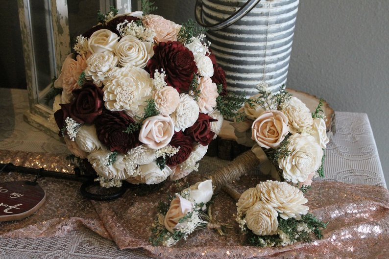 Small Ceremony Bouquet Set, Burgundy, Blush Pink, & Ivory Sola Bouquets, Burgundy Wedding Bouquet, Blush Pink Wedding Bouquet