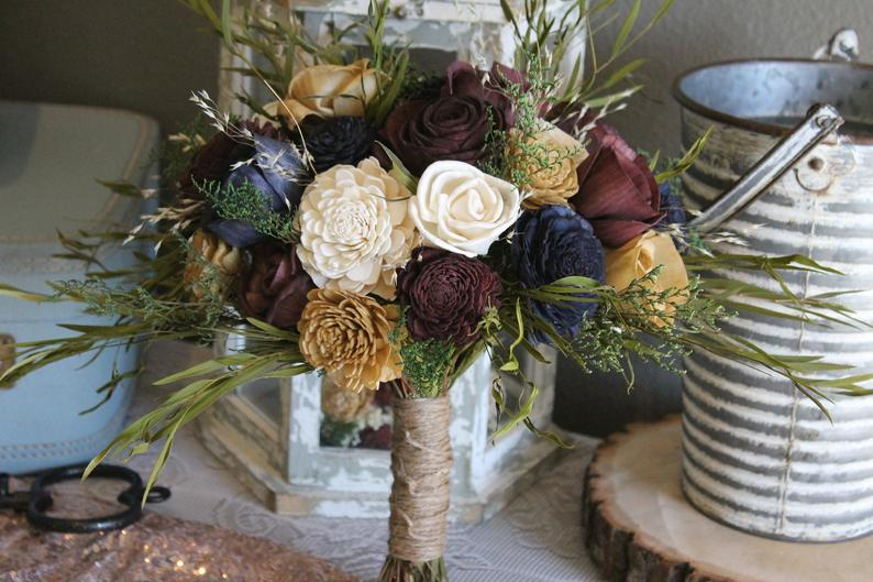 Eucalyptus Bouquet, Wine, Navy Blue, Gold, & Ivory Eucalyptus Sola Bouquet, Blue Rose Bouquet, Preserved Flower Bouquet, Wood Flowers