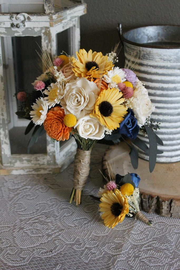 Sunflower & Daisy Sola Flower Bouquet, Sunflower Bouquet, Wildflower Bouquet, Rustic Wedding Bouquet