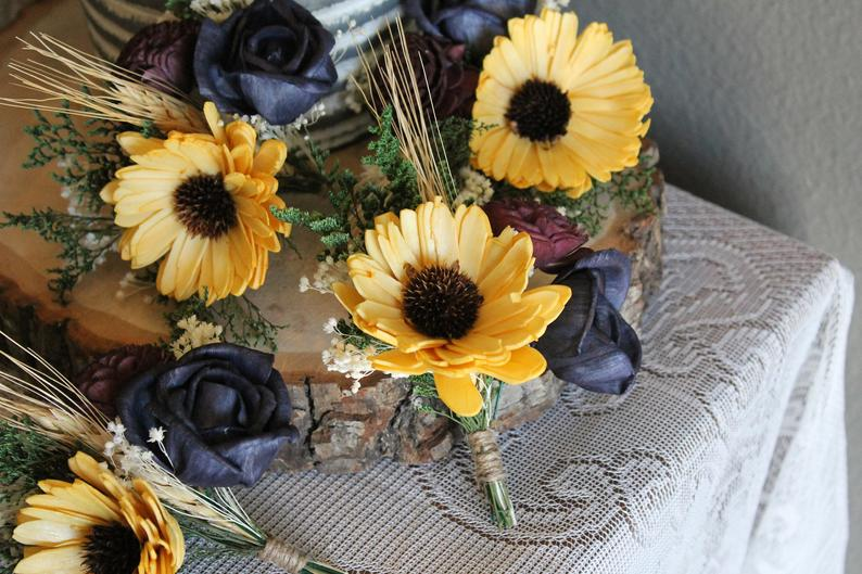 Sunflower Corsage, Yellow, Navy, & Wine Corsage