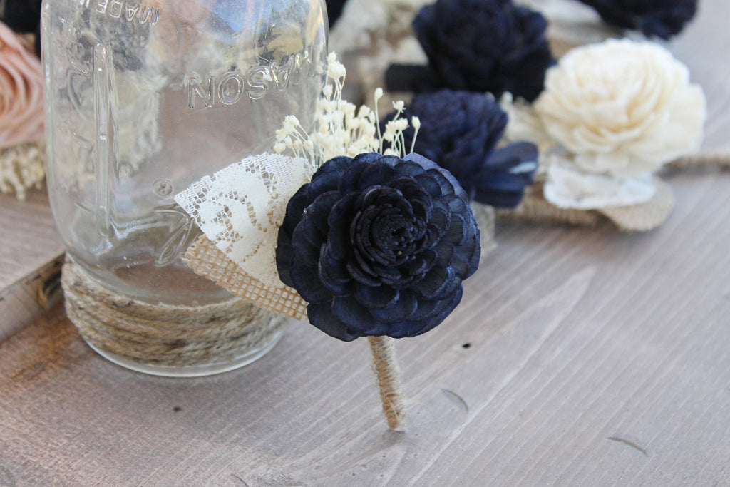 Navy Blue Babies Breath Boutonniere, Navy Sola Boutonniere, Navy Boutonniere, Navy Blue Boutonniere, Blue Boutonniere, Navy Blue Wedding