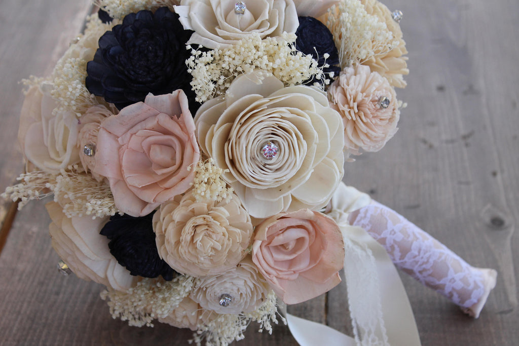 Champagne, Blush Pink, Navy Blue, & Ivory Sola Flower Bouquet, Champagne and Pink Sola Bouquet, Navy Blue Sola Bouquet, Champagne Wedding